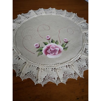DOILY ROUND RUNNER MIXTED LINEN WITH LACE DIAMETER 36 CM