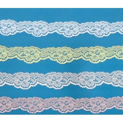 Encaje de nylon y coton elastico altura cm.2.5 paquete mt.20