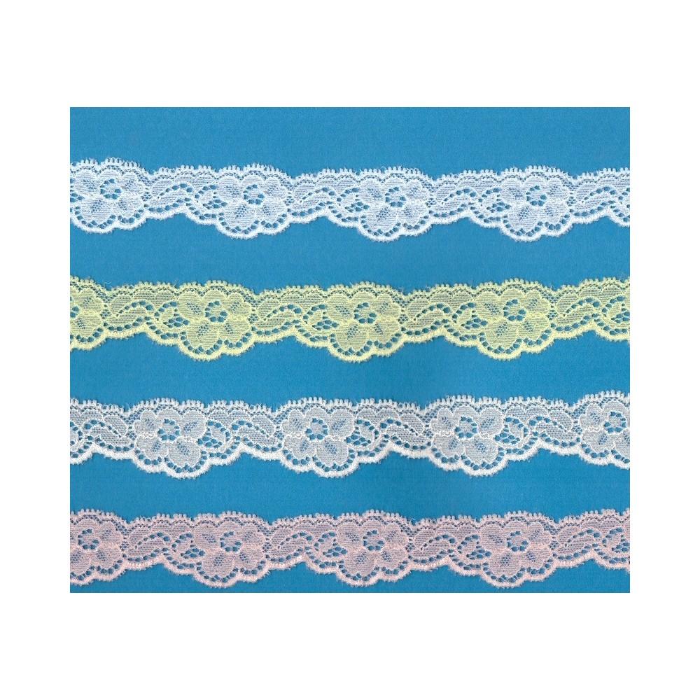 Pizzo merletto ricamo valenciennes elastico altezza cm.2.5 confezione mt.20