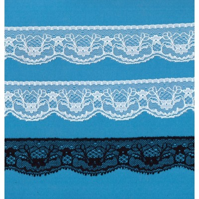 Encaje de nylon y coton elastico altura cm.3.5 paquete mt.20 art.1005371