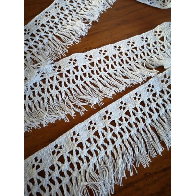 Cotton Lace Fringe White Ribbon cm.7.5 mt.10 Art.1782