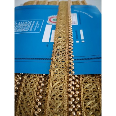 Gold trimming golden ribbon with beads width cm.2.5 pack mt.18