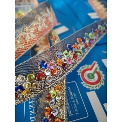 Passamaneria nastro colorato con perline altezza cm.2.5 confezione mt.3