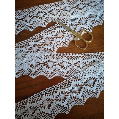 Cotton Lace Scalloped Trim White width cm.5.5 mt.10 for sewing, diy, craft, wedding, decor Art.1505