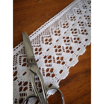 Cotton Lace Scalloped Trim White width cm.9 mt.10 for sewing, diy, craft, wedding, decor Art.1261