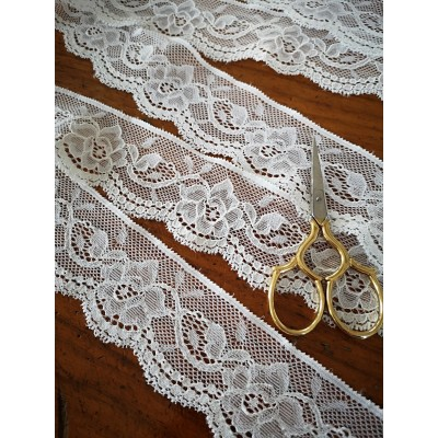 Elastic lace ribbon edge cream width cm.4.5 pack mt.20