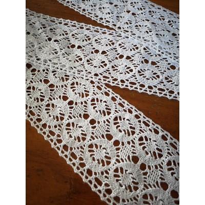 Pizzo Nastro Cotone Bianco Merletto Tramezzo altezza cm.7.5 mt.10 Art.1627
