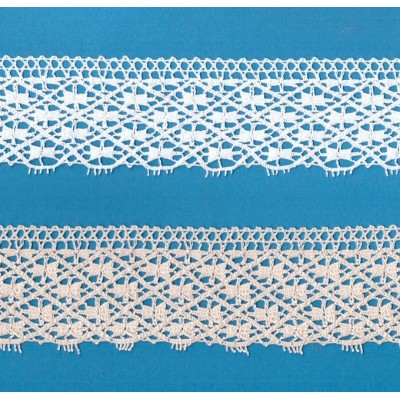 Cotton Lace Scalloped Trim width cm.5.5 mt.10 for sewing, diy, craft, wedding, decor Art.1237