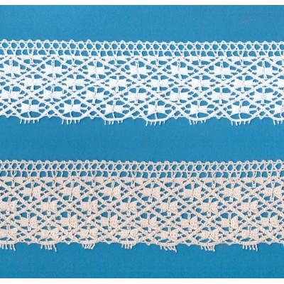 Encaje Algodon Beige altura cm.5.5 mt.10 para Costura, Manualidades, Decoracion, Scrapbooking, Art.1237
