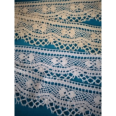 Cotton Lace Scalloped Trim width cm.5.5 mt.10 for sewing, diy, craft, wedding, decor Art.1631