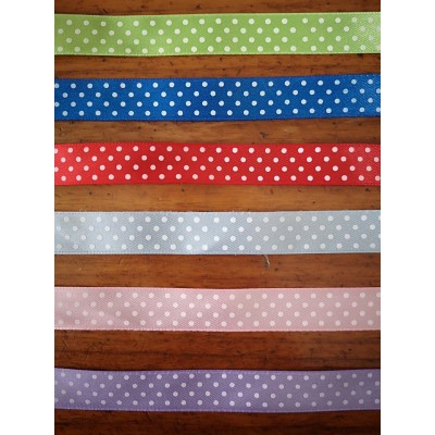 Satin ribbon tape very high quality polka dot wide mm.16 pack mt.50