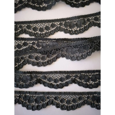 Elastic lace ribbon grey scalloped width cm.2.5 pack mt.20