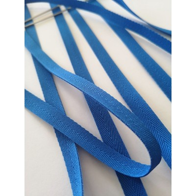 Blue Fishbone Embroidered Ribbon Width mm.10 roll mt.150