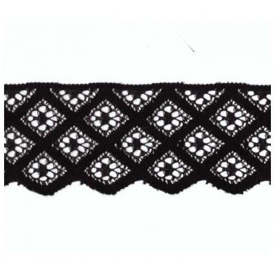Pizzo valencienne nero rigido altezza cm.5 confezione mt.20 art.1033083