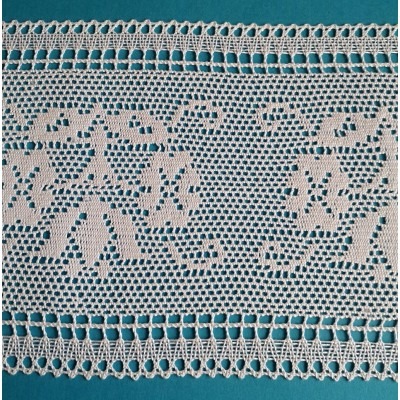 Pizzo merletto tombolo religioso altezza cm.16 confezione mt.10 art.1717