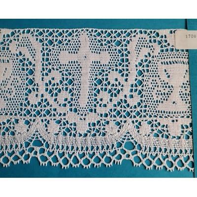 Pizzo merletto tombolo religioso altezza cm.13 confezione mt.10 art.1708