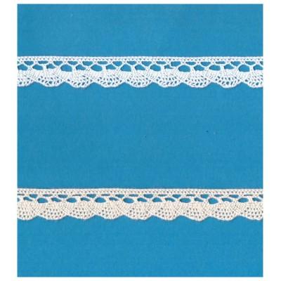 Encaje de Bolillos Diseño en forma de abanico Altura cm.1.5 Paquete mt.10 Art.1498