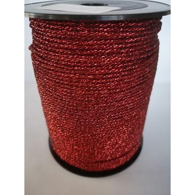 Cordon rond rouge tresse hauteur mm.2 paquet mt.100