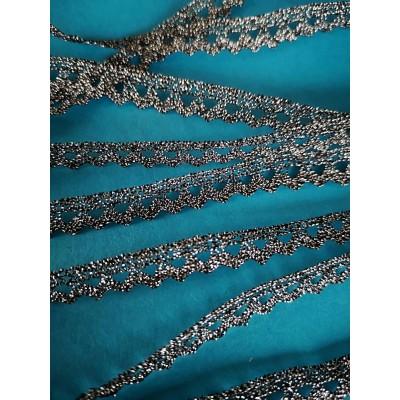 Encaje de bolillo plata bordado altura cm.1 mt.10 Art.1734me3