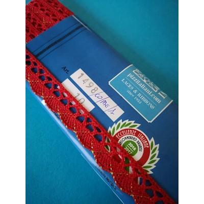Encaje de Algodon y Lurex rojo Altura cm.1.5 paquete mt.10 Art.1498