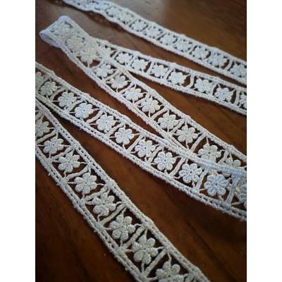 Macrame Cotton Lace Ivory width cm.1.5 pack MT.10