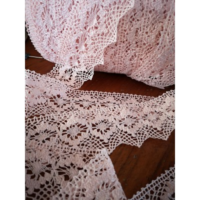 Cotton Lace Scalloped Trim pink width cm.5.5 mt.10 for sewing, diy, craft, wedding, decor Art.1505