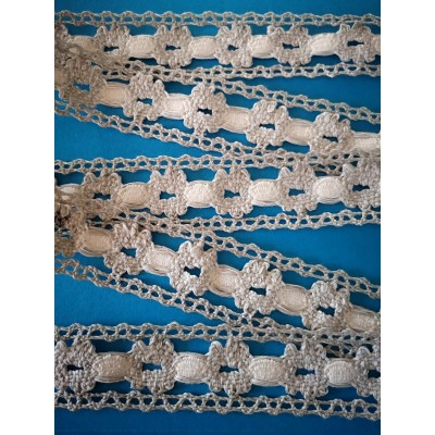 Cotton Lace Trim Edged two tone Ivory Width cm.3.5 pack mt.10 art.1797