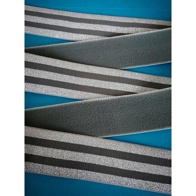Nastro elastico lurex argento gallone altezza mm.40 confezione mt.25