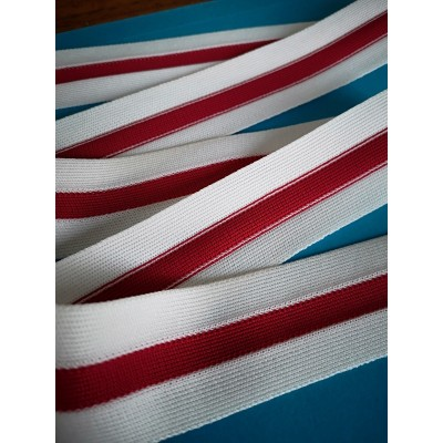White and red band cotton ribbon width mm.40 pack. mt.50