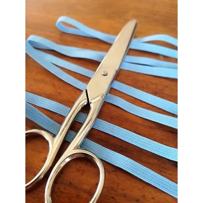 Tressè elastique ruban bleu clair pour bavettes largeur mm.6 paquet mt.20