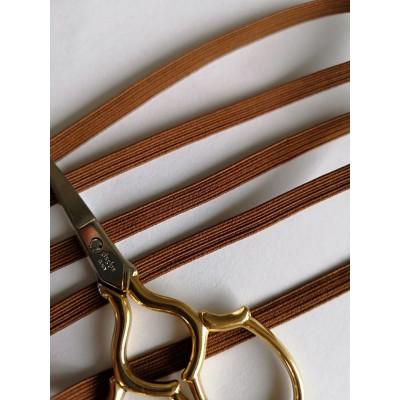 Trenza elastica marrone para mascarilla altura mm.6 paquete mt.20