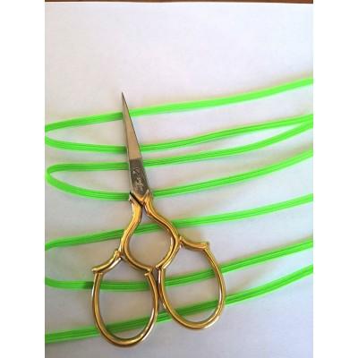 Tressè elastique ruban vert fluo pour bavettes largeur mm.3 paquet mt.20