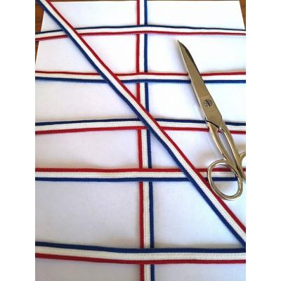 Nastro elastico tricolore francia morbido altezza mm.11 confezione mt.20