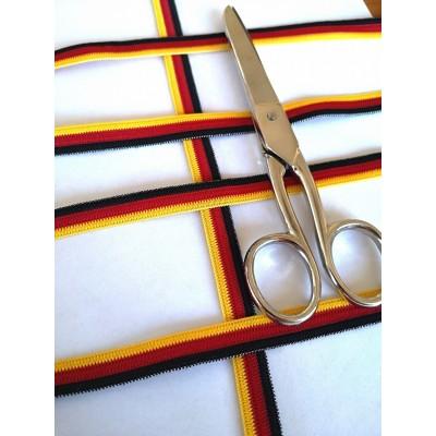 Nastro elastico tricolore germania morbido altezza mm.11 confezione mt.20