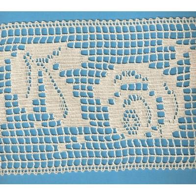 cotton bobbin lace edged floral motif 1228
