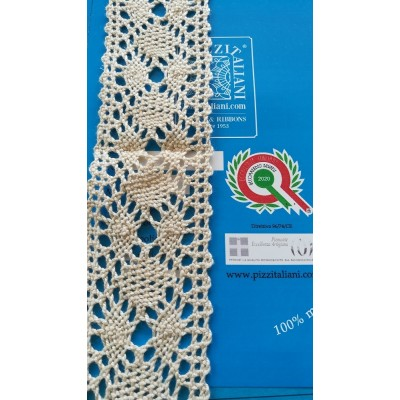 Bobbin Lace Edged in cotton  Wide cm.4.5 Package mt.10 Art.1303