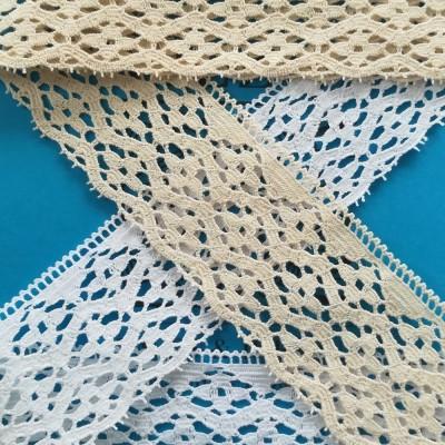Dentelle aux fuseaux Coton festonné Hauteur 7 cm Pièce de 10 m ART.0961