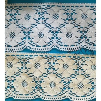 Encaje de bolillos para cortinas Festón Algodón pesado Altura cm. 13 Pieza mt.10 ART.1681
