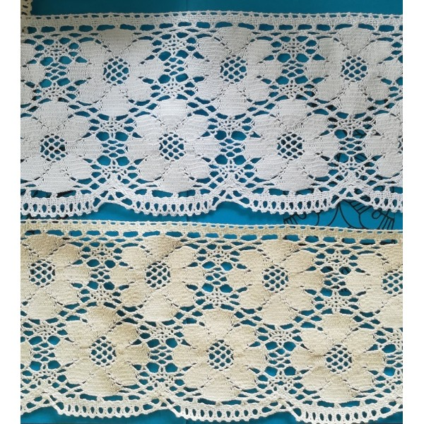 Bobbin lace for curtains Scalloped Heavy cotton Height cm.13 Piece mt.10 ART.1681