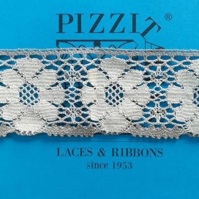Encaje de Bolillos Bicolor Crudo y Taupe Alto cm.8 Paquete de mt.10 Art.1666bic