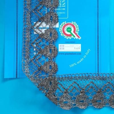 Merletto Metallizzato Lurex Argento Smerlato Altezza cm.5.5 Pezza mt.10 Art.1257me3