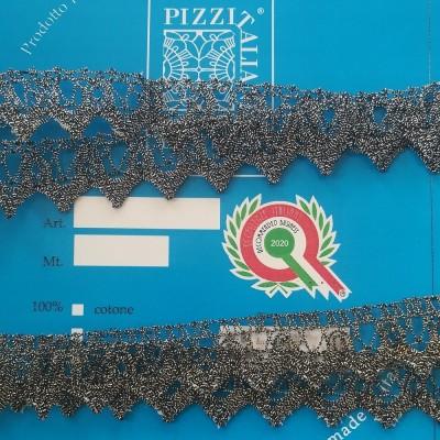 Encaje de bolillos festoneado metálico Altura cm. 2 Pieza mt.10 Art.1223ME