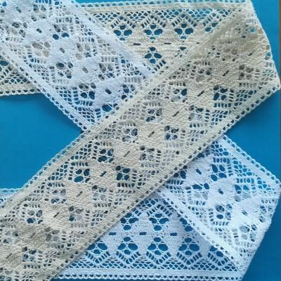 Dentelle aux Fuseaux Entredeux de coton avec motif géométrique Hauteur cm.7,5 pièce mt.10 Art.1259