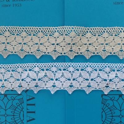 Dentelle aux fuseaux festonnée à motif géométrique Hauteur 6,5 cm Pièce 10 m Art.1599
