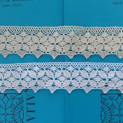 Encaje de Bolillos festoneado con motivo geométrico Altura cm.6,5 Paquete mt.10 Art.1599