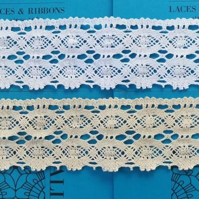 Dentelle aux Fuseaux Festonnée pour rideaux à motif géométrique Hauteur cm.9 Paquet mt.10 Art.0967