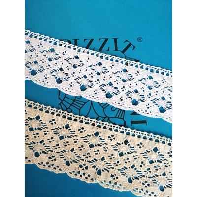 Dentelle aux fuseaux festonnée à motif géométrique Hauteur 6 cm Pièce 10 m Art.1348