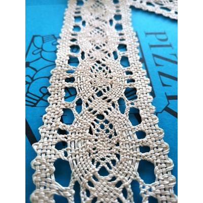 Edged Bobbin Lace with Geometric Pattern Height 6 cm Piece 10 m Art.0966