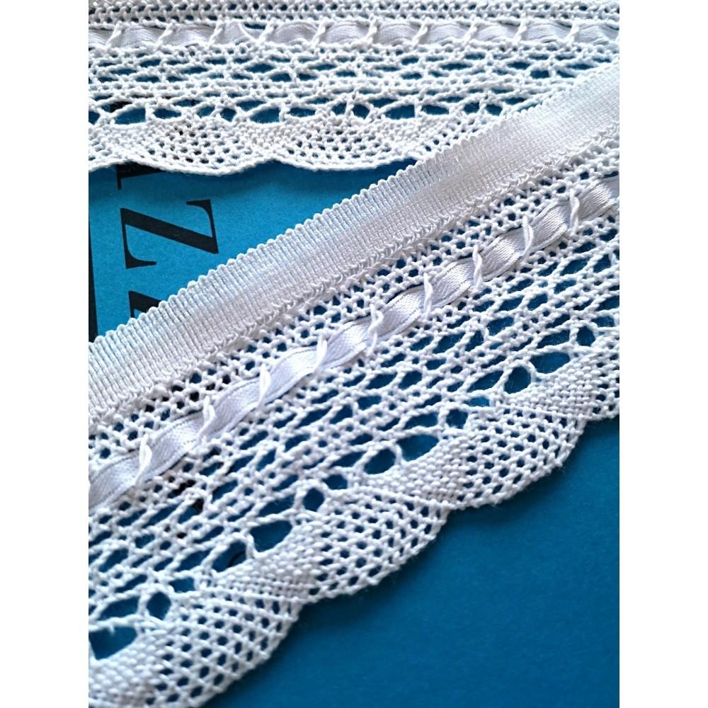 Lace Trim Satin Cotton Cluny Width cm.6 pack mt.10 art.1514