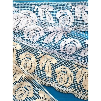 Dentelle aux Fuseaux Entredeux avec motif floral Largeur cm.14.5 Paquet mt.10 Art.1122